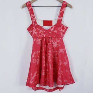 Christopher Deane Red Floral Open Back Tank Top 4
